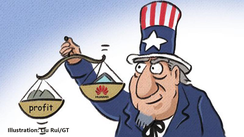 US oppressing Huawei for political interests : Illustration: Liu Rui/GT