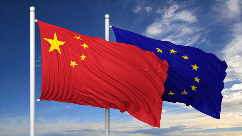 China-Europe, China and EU, Flags of Peoples Republic of China and Europeam Union, symbol of good relation