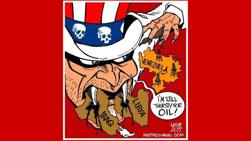 Venezuela Cartoon showing US internvention for oil by Carlos Latuff