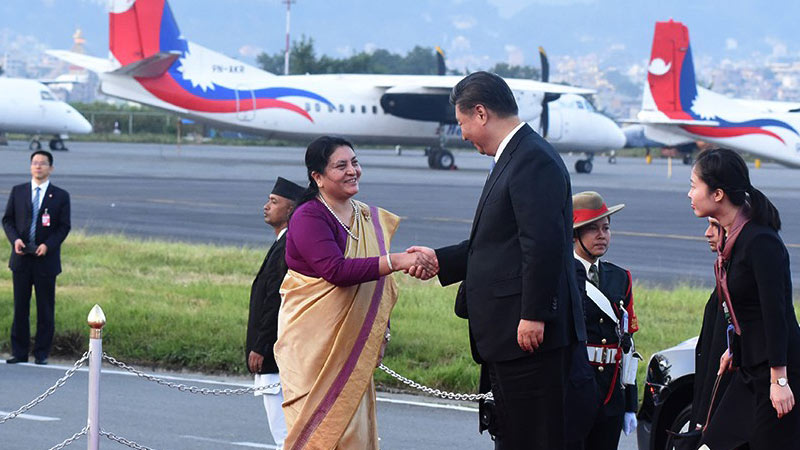 President Bhandari Welcomes Chinese President Xi Jinping at TIA