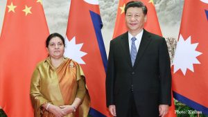 Chinese President Xi speaks with President Bhandari