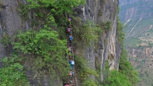 Clifftop villagers resettled in town as part of China's poverty reduction campaign
