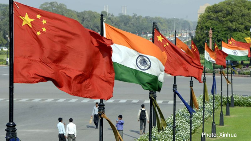 China-India Relations, national Flags