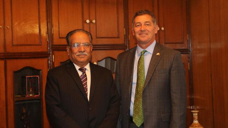 अध्यक्ष प्रचण्डसँग अमेरिकी राजदूत बेरीको भेटवार्ता