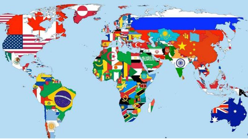 Map of the world with flags