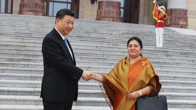 राष्ट्रपति भण्डारीलाई चीन सरकारकाे राजकीय सम्मान