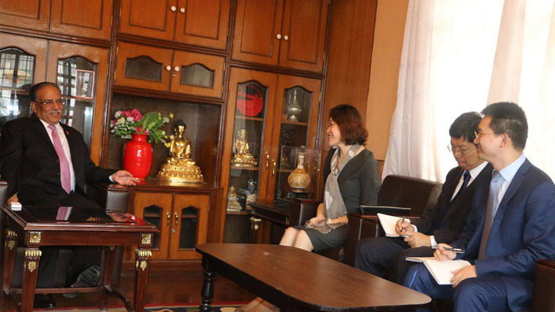 Chairman Prachanda and Hou Yanqi Chinese ambassador