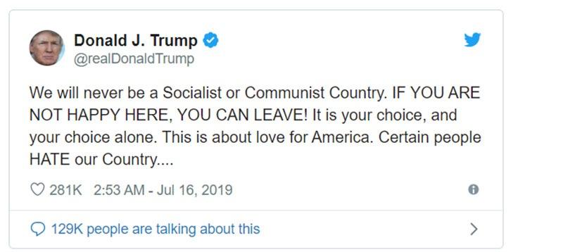 US Donald Trump Tweet to socialist leave USA