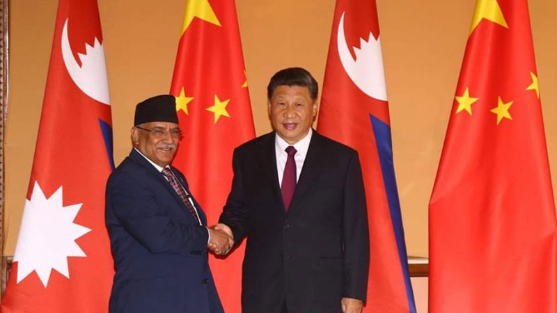 Xi Jinping and Pushpa Kamal Dahal Prachanda